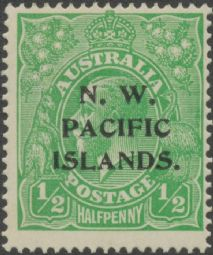 NWPI KGV Head SG65a(c) ½d Bright Green - type c overprint (GNHG/9)